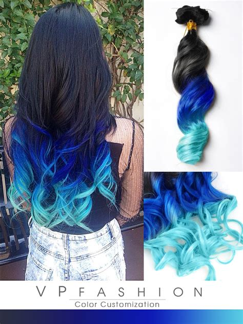 ombre colorful hair clip in hair extensions high quality clip human hair
