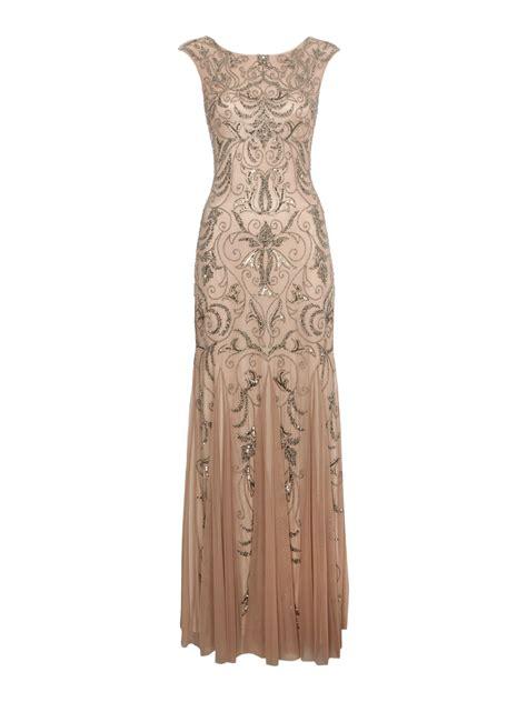 Papell Cap Sleeve Beaded Dress In Metallic Lyst