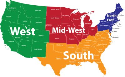 map of usa with states marked united states map by region