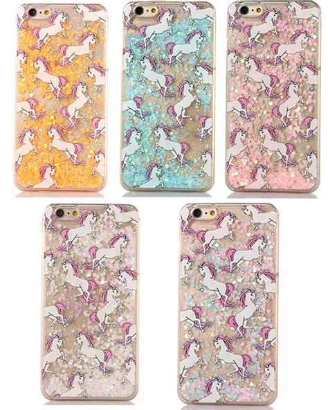 Iphone 6 6 Unicorn Rainbow Glitter Water dynamic glitter liquid paillette unicorn phone cover for iphone 5 5s 6 6 ebay