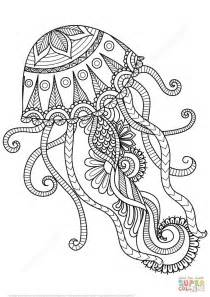 Coloring Book Nature Jellyfish Zentangle Coloring Page Free Printable