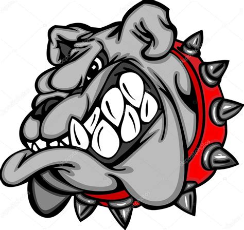 bulldog cartoon face illustration stock vector