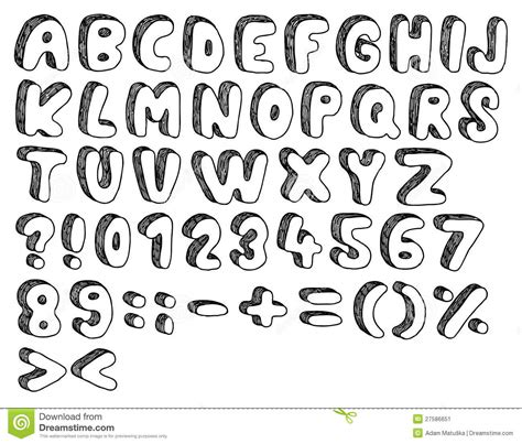 how to draw doodle lettering doodle font stock image image 27586651