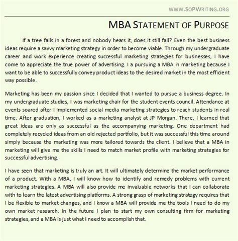 Statement Of Purpose Template For Mba by Statement Of Purpose For Mba