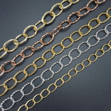 DIY jewelry making materials gold silver rose Flash chain Open Link Iron Metal Chain Findings
