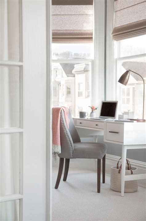 bay window desk bay window with white desk and gray chair transitional