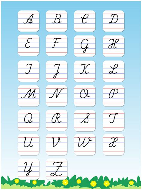 abcd pattern in poetry cursive writing capital letters free kids learn to write