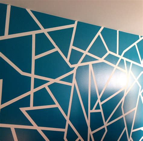 geometric pattern on wall geometric wall paint design color glidden 10731 ocean