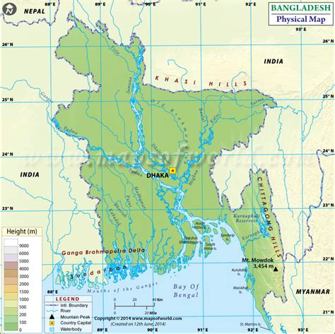 geographical map of bangladesh physical map of bangladesh