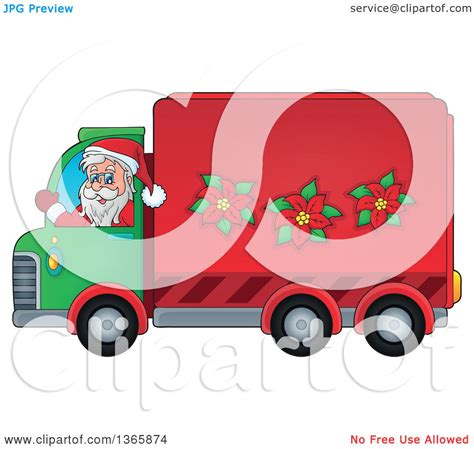 animated santa driving clipart of a santa claus driving a delivery truck royalty free vector