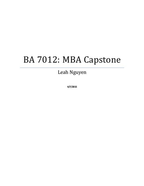 What Is Mba Capstone by Capstone Paperfinal