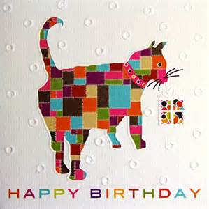 Independent Kitchen Designer cat greeting cards patchwork cat birthday card