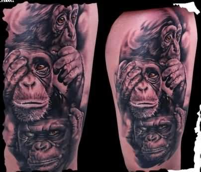 three monkeys tattoo design three wise monkeys sleeve design