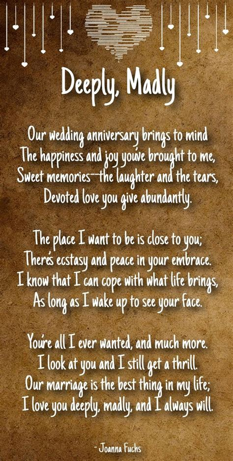 Wedding Anniversary Poems For by Best 25 Anniversary Poems Ideas On
