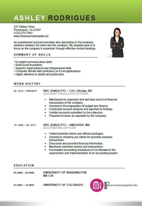 resume template for executive account executive resume template free resume