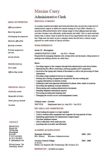 resume template mailroom clerk resume sample sample resume template