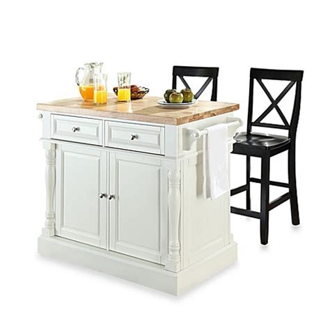 black kitchen island with stools buy crosley butcher block white kitchen island with 24 inch black x back stools from bed bath
