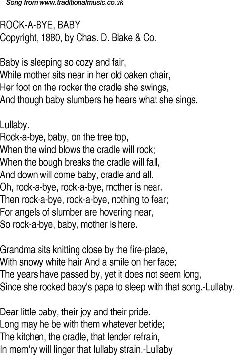 testo in baby time song lyrics for 14 rock a bye baby