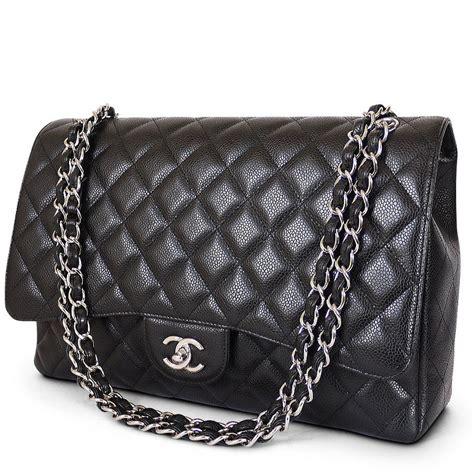 chanel chanel black caviar jumbo classic flap bag maxi xl