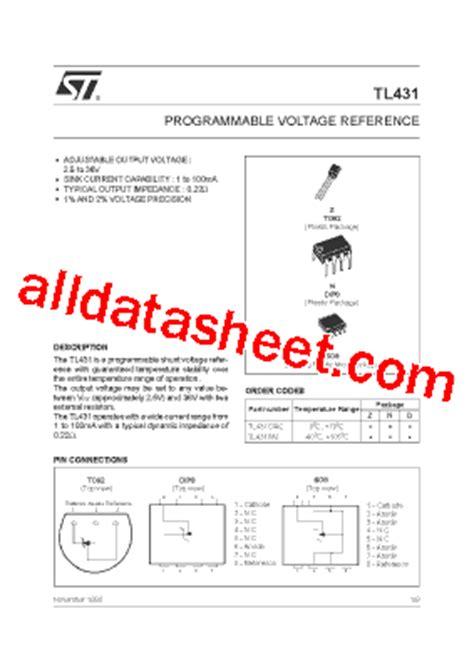 transistor tl431 tl431 datasheet pdf stmicroelectronics