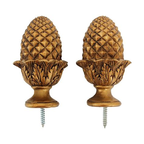 curtain finials shop design toscano acorn 2 pack gold wood curtain rod