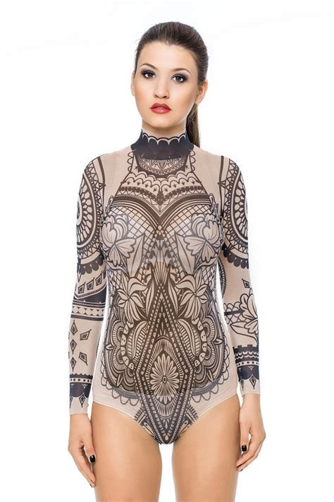 new tattoo under shirt new aztec flowers tattoo bodysuit mesh body tattoo body