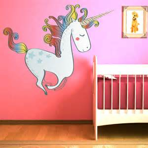 Unicorn Wall Stickers prancing unicorn fairy amp fantasy colour wall sticker kids art decals