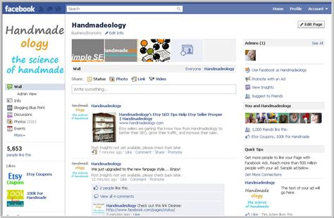 facebook fan page upgrading to the new facebook fan page layout handmadeology