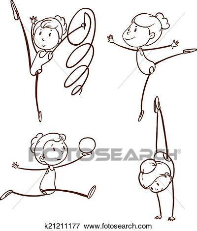 disegni cerca clipart clip disegni di uno ragazza fare ginnastica