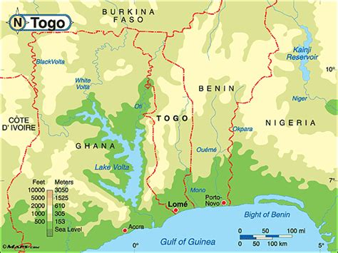 physical map of togo hairstyles 2011 for map of togo west africa