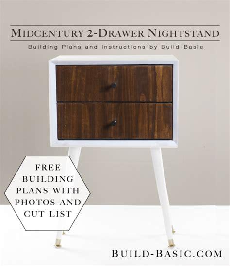 easy nightstand plans build a diy midcentury 2 drawer nightstand build basic