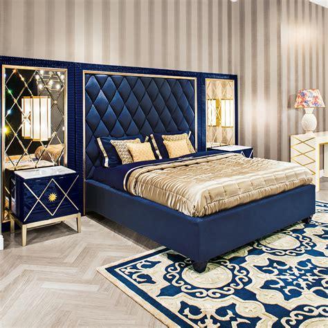 bedroom wall padding high end modern blue velvet ottoman storage bed