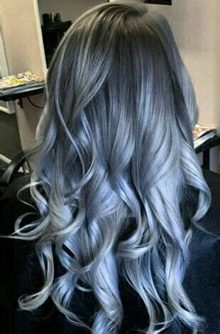 silver blue color silver blue grey ombre hair color hair silver blue