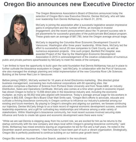 biography exles for conference congrats to denise mccarty new oregon bio executive