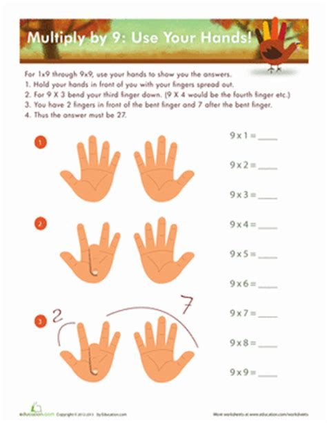 9 Times Table Trick by 9 Times Table Trick Worksheet Education