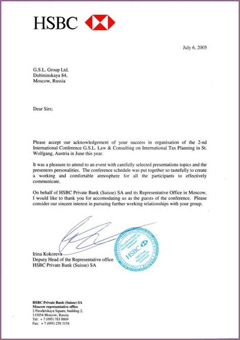 Letter Of Credit Hsbc Bank Bank Reference Letter Designproposalexle