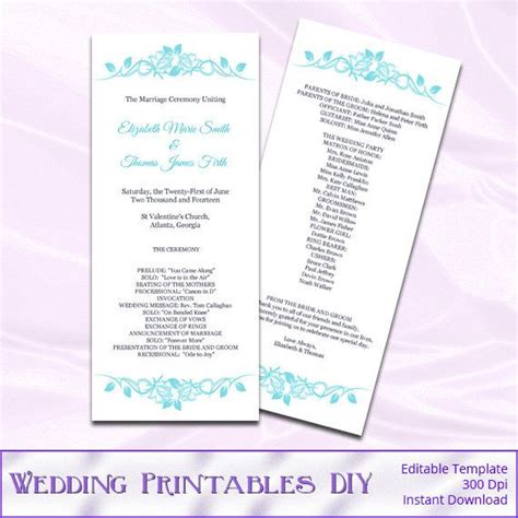 diy wedding program template diy printable wedding program templates by