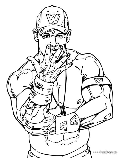 Wrestler John Cena Coloring Page Wwe Birthday Party Cena Coloring Pages