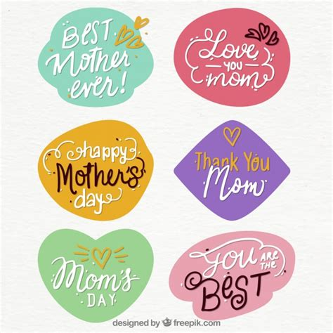 Family Sticker Mothers by S Day Quote Stickers Vector Free