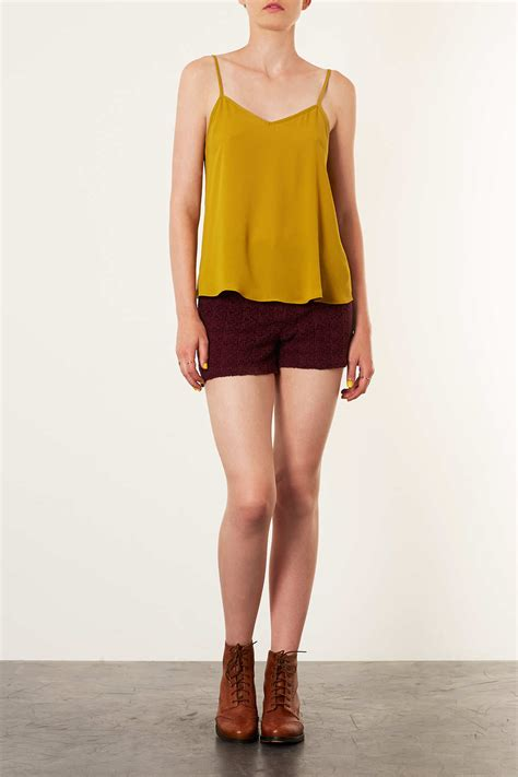 Topshop Vs by Lyst Topshop Strappy V Neck Cami In Yellow