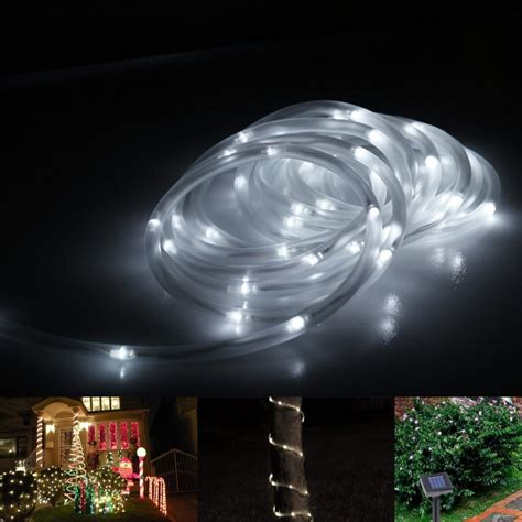 solar powered led rope lights lolux solar powered 100 led 33ft end to end waterproof starry rope light