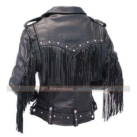 black leather jacket with fringe ladies black leather fringe motorycle jacket