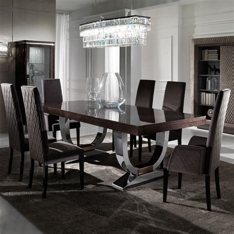 modern dining room table chairs large modern italian veneered extendable dining table set