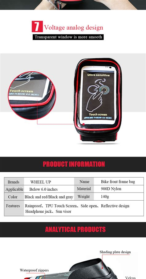 Wheel Up Smartphone Holder Sepeda Waterproof 6 Inch Diskon wheel up bicycle touchscreen front frame cell phone