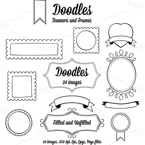 free doodle frame font doodle banners and frames objects on creative market
