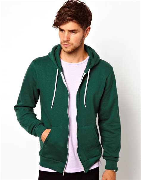 american apparel hoodie american apparel flex hoodie in green for forest lyst