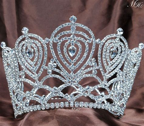 Handmade Tiaras For Wedding - large crown austrian rhinestone tiara handmade clear