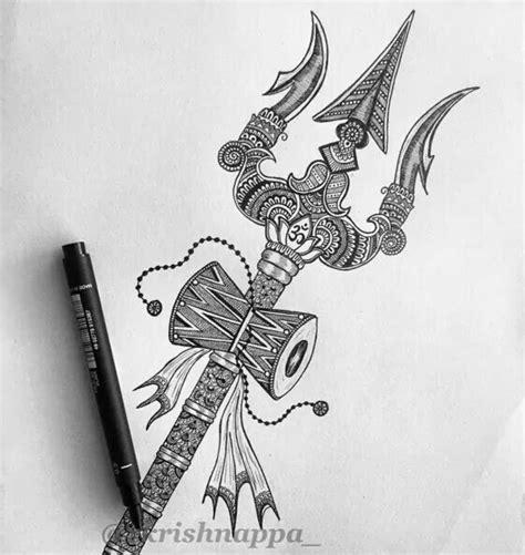 shakti tattoo design trishul damru shiva har har mahadev