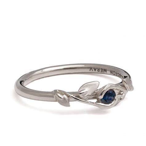 leaf pattern diamond ring leaves sapphire ring 14k white gold and sapphire