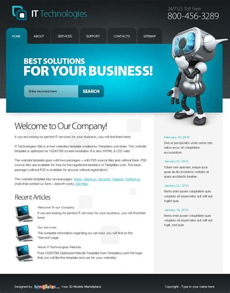 free homepage template 10 free html website templates for business